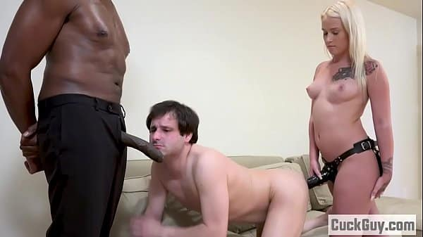 Layla and her sissy boy double teams a BBC